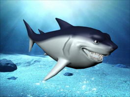 Happy Shark Cartoon 3d preview