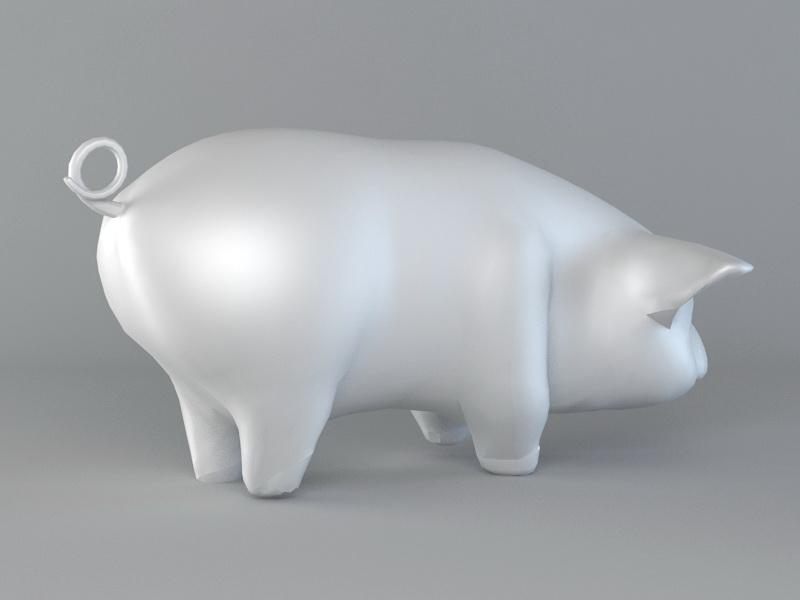 Pig Figurine 3d rendering