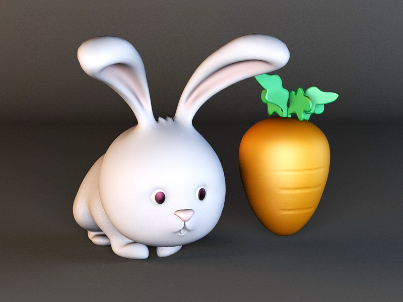 Rabbit and Carrot 3d rendering
