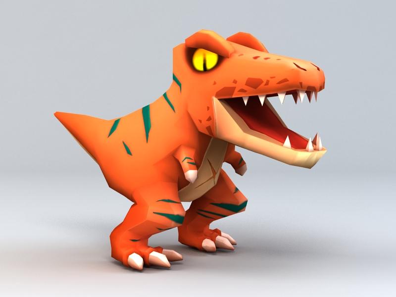 Cute Velociraptor Dinosaur 3d rendering