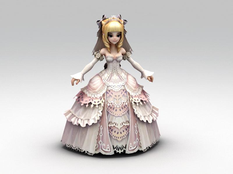 Anime Bride 3d rendering