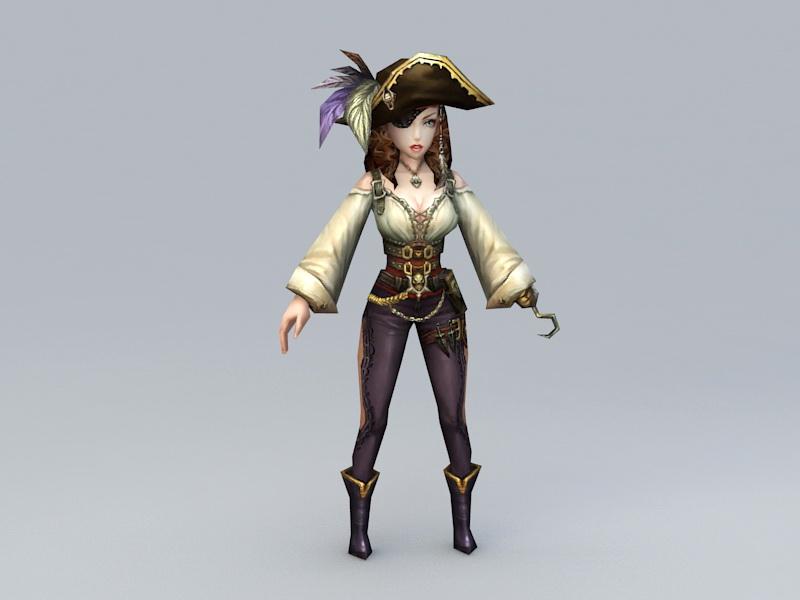 Pirate Woman 3d rendering