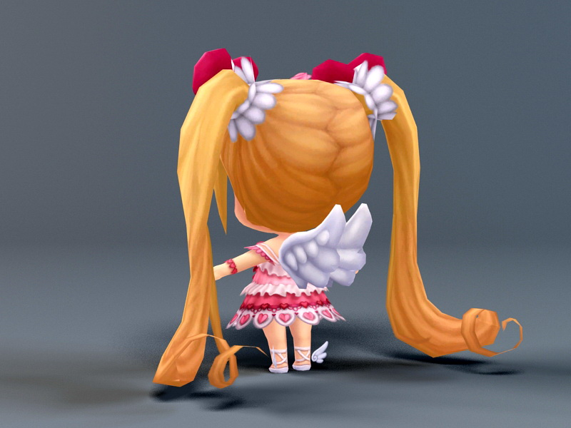 Kawaii Chibi Girl 3d rendering