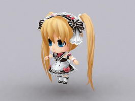 Anime Chibi Girl 3d preview