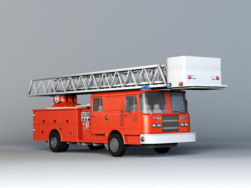 Fire Truck 3d rendering