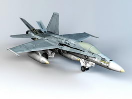 Low Poly F-18 Fighter 3d model preview