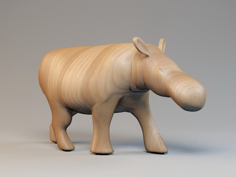 Carved Wooden Hippo Sculpture 3d rendering