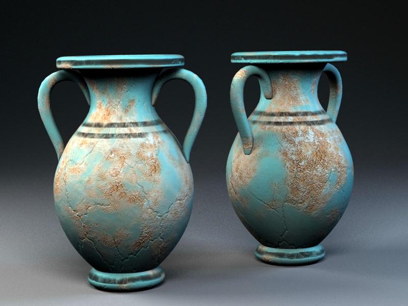 Vintage Art Deco Vases 3d rendering
