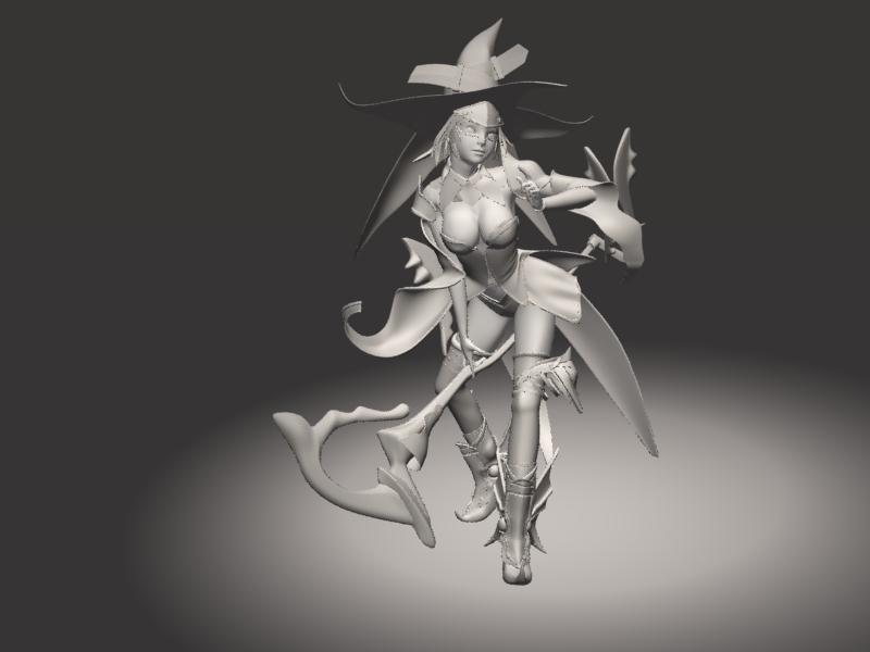 Pretty Witch Warrior 3d rendering