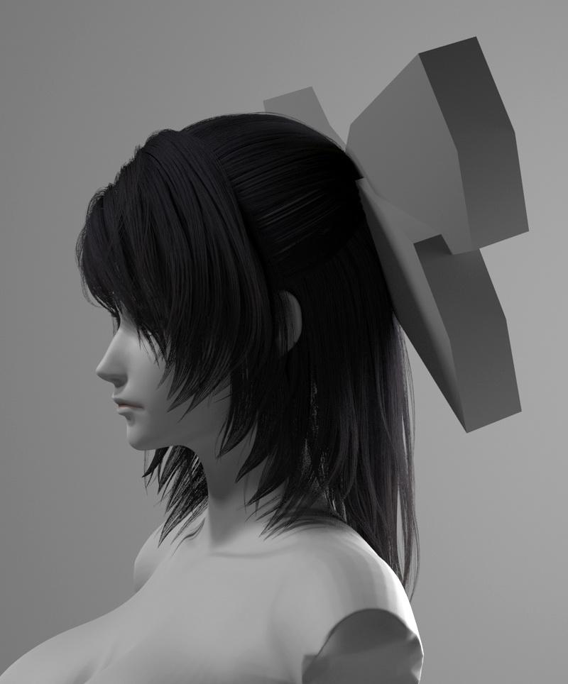 Anime Girl Head 3d rendering