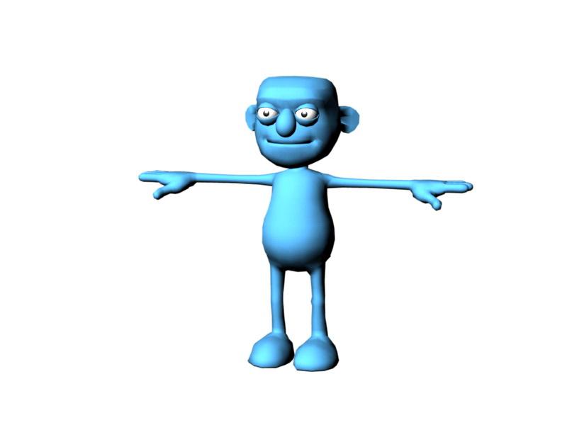 Blue Cartoon Person Rig 3d rendering