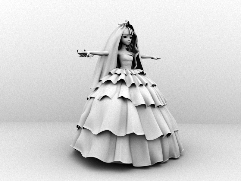 Cartoon Bride 3d rendering