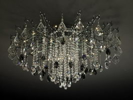Crystal Chandelier Flush Mount Light 3d preview