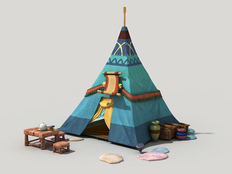 Cartoon Tent 3d rendering