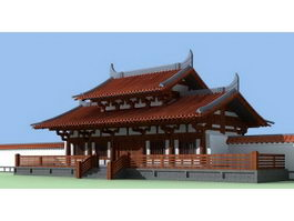 Ancient Chinese Architecture Temple 3d preview