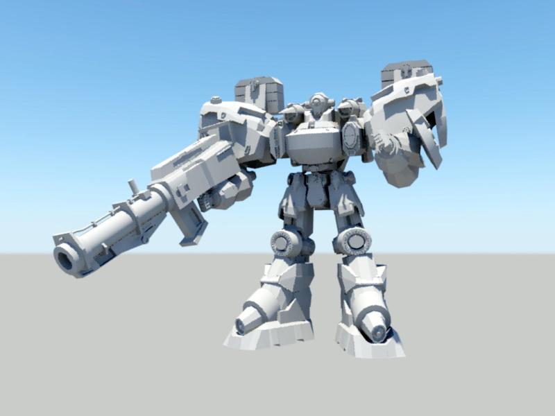 Mech Warrior 3d rendering