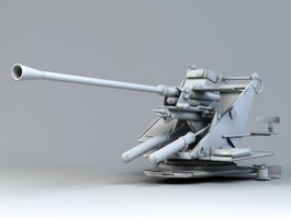 WW2 Germany Anti-aircraft Cannon 3d model preview