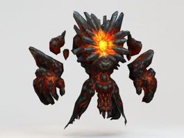 Lava Elemental Creature 3d preview