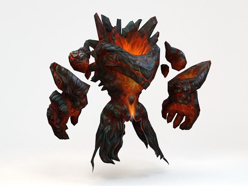Lava Elemental Creature 3d rendering