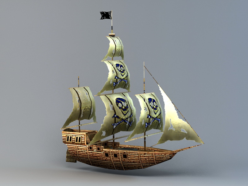 Old Pirate Ship 3d rendering