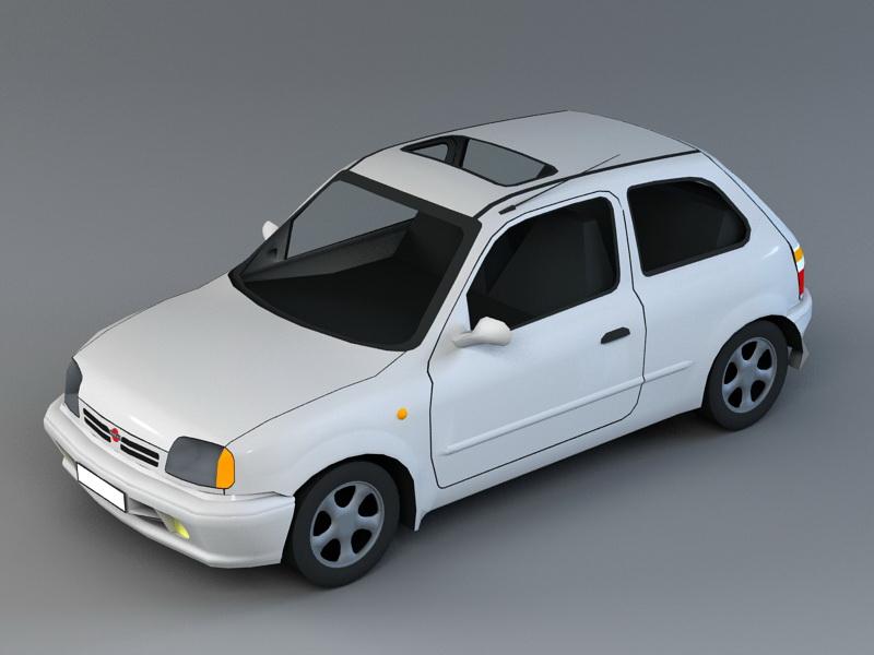 Old Fiat Car 3d rendering