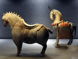 Ancient Chinese Horse Sculpture 3d preview
