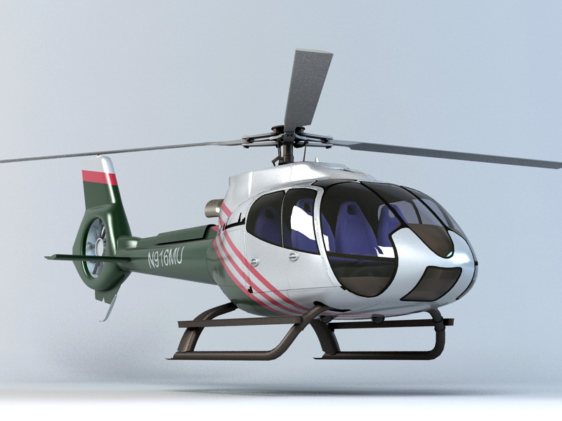 Commercial Helicopter 3d rendering