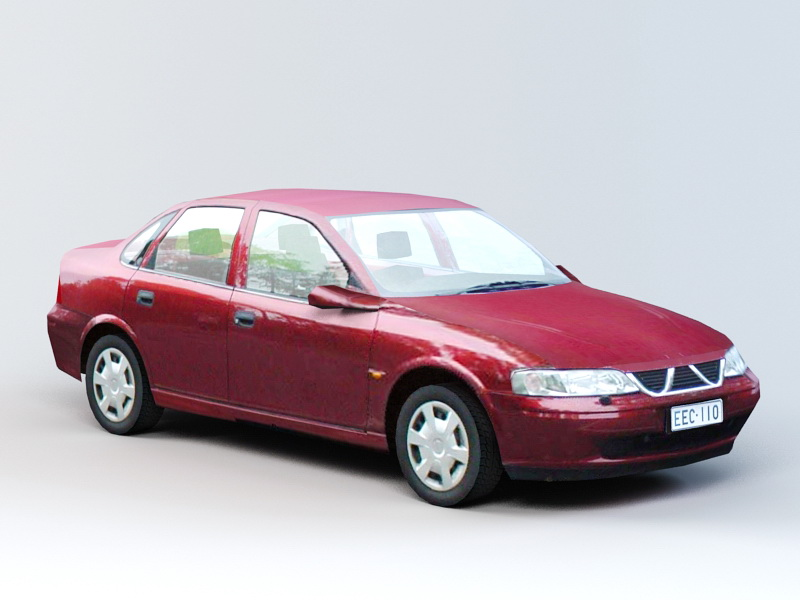 Red Sedan Car 3d rendering