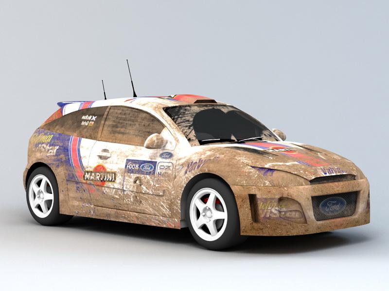 Dirty Rally Car 3d rendering