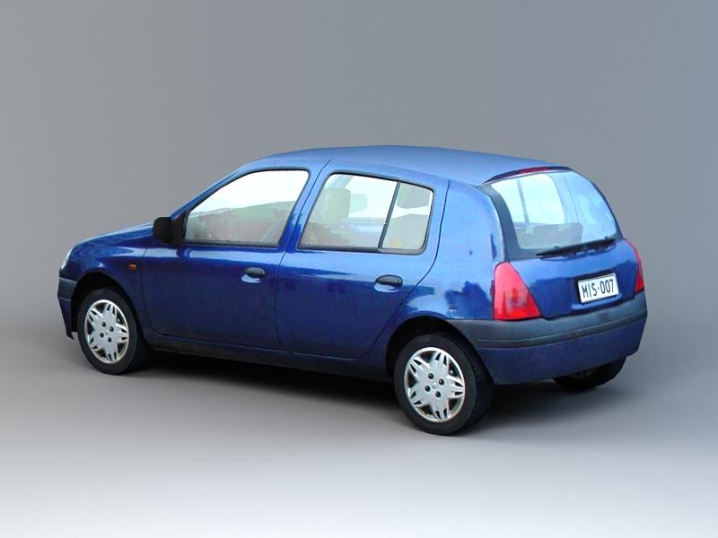 Old Hatchback Car Low Poly 3d rendering