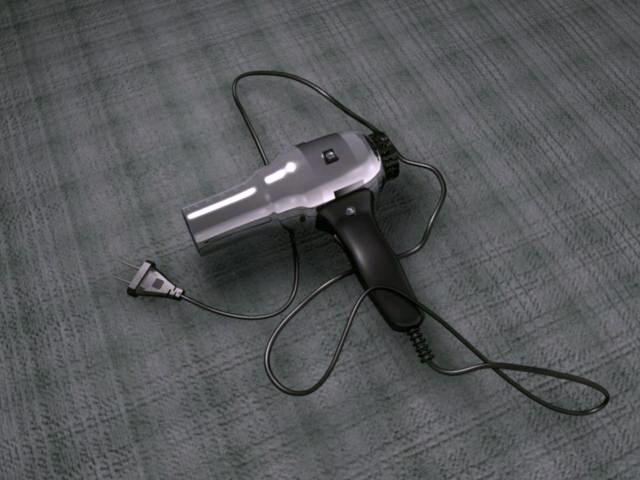 Classic Hair Dryer 3d rendering