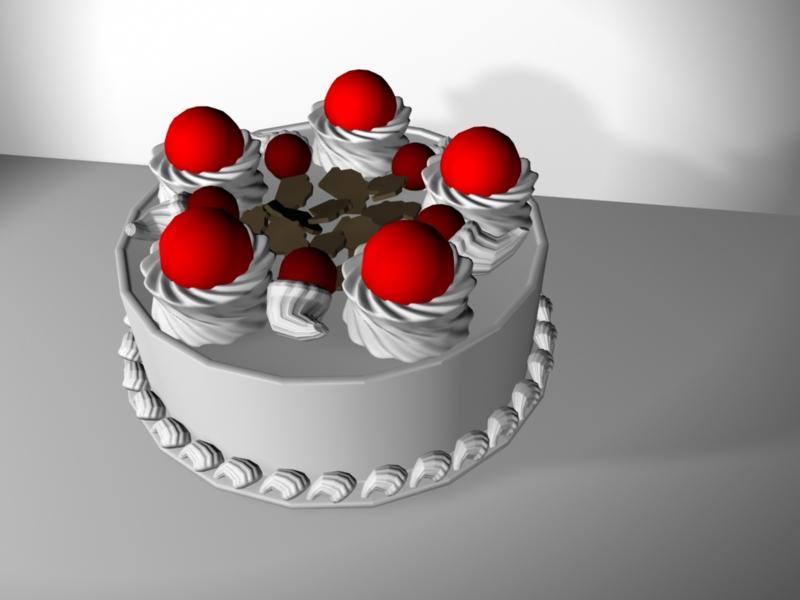 Happy Birthday Cake 3d rendering