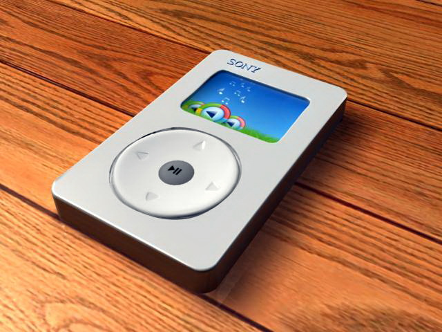 Sony MP3 Player 3d rendering