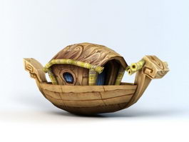Cartoon Wooden Boat 3d preview