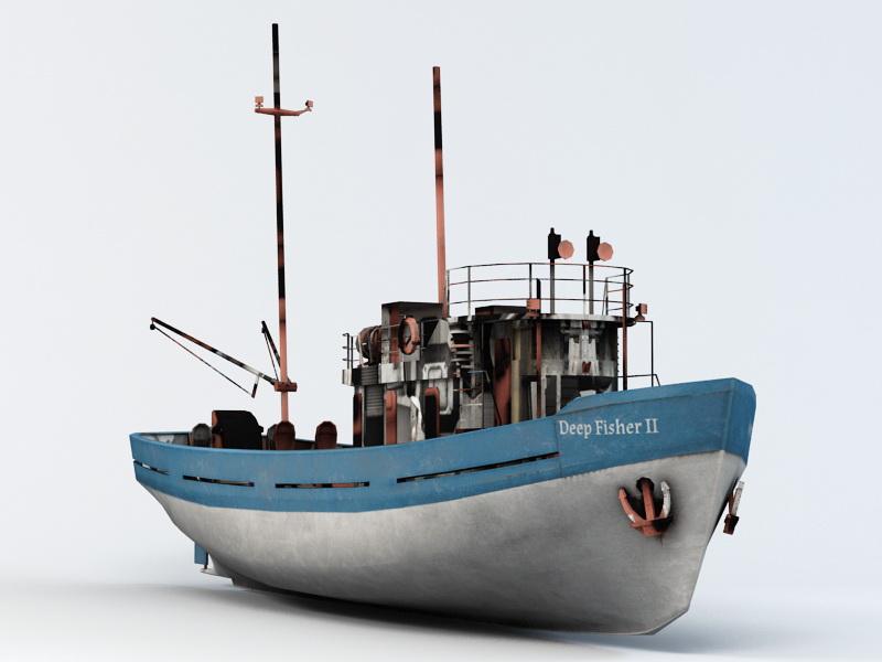 Deep Sea Fishing Boat 3d rendering
