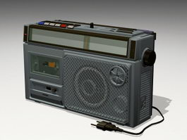 Boombox Radio Cassette Player 3d model preview