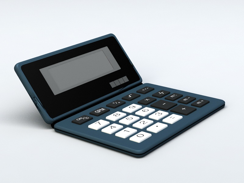 Basic Electronic Calculator 3d rendering