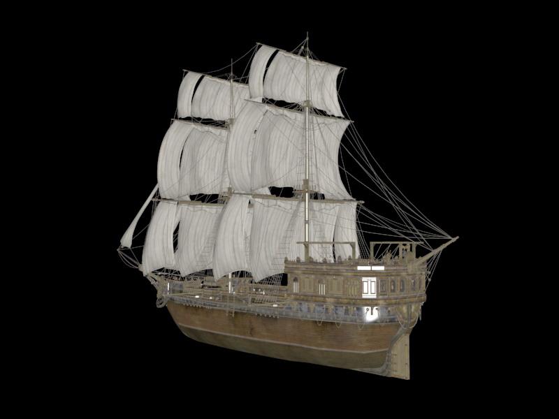 Sailing Warship 3d rendering