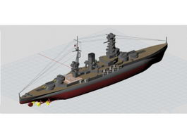 Imperial Japanese Navy Nagato Battleship 3d preview