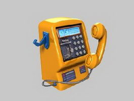 Retro Wall Telephone 3d model preview