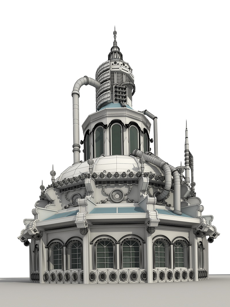Steampunk Factory Building 3d rendering