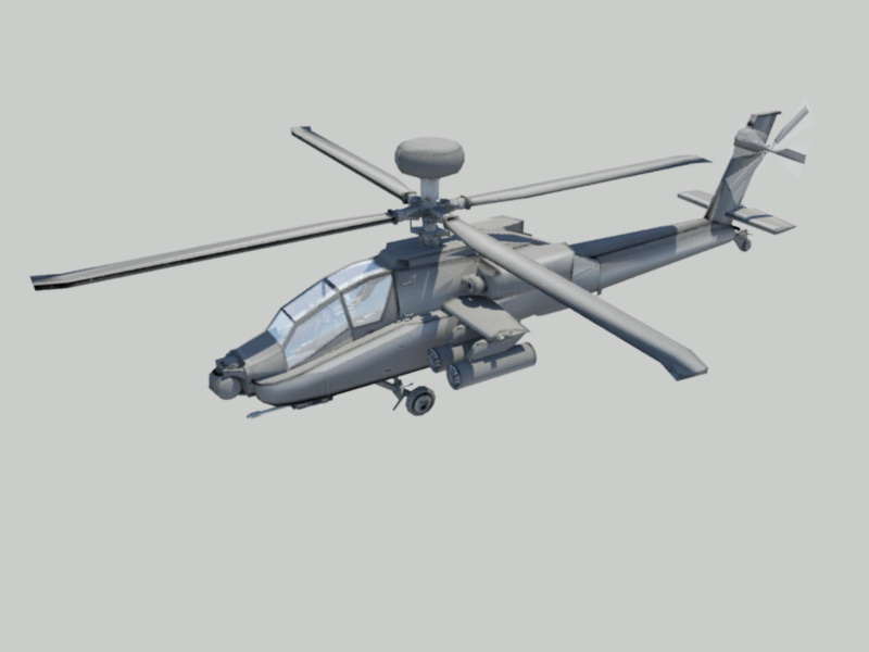 Apache Helicopter 3d rendering