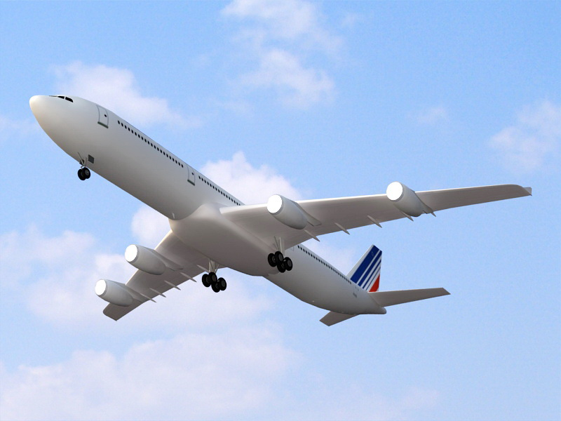Air France Airbus A340-300 3d rendering