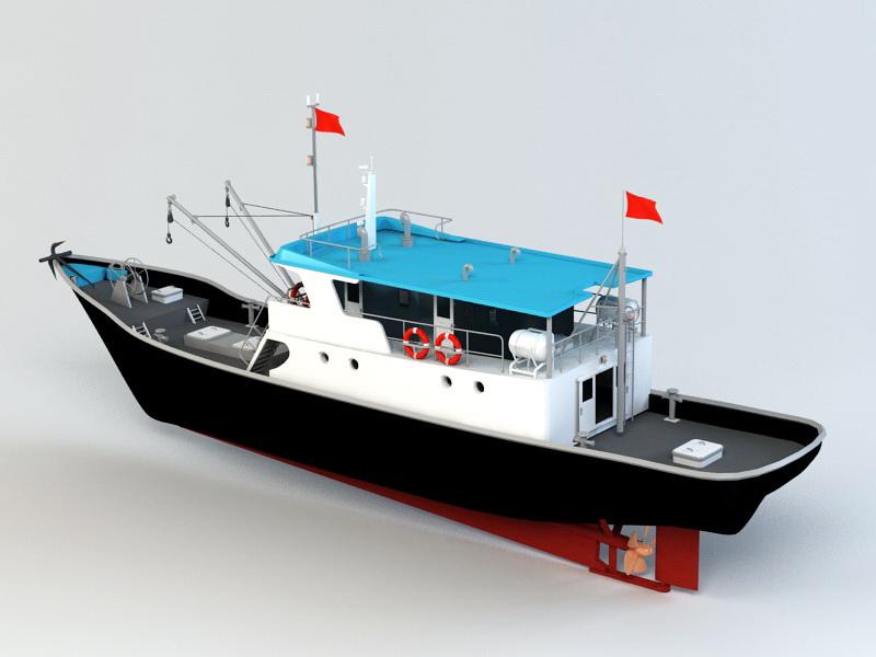 Commercial Fishing Vessel 3d rendering