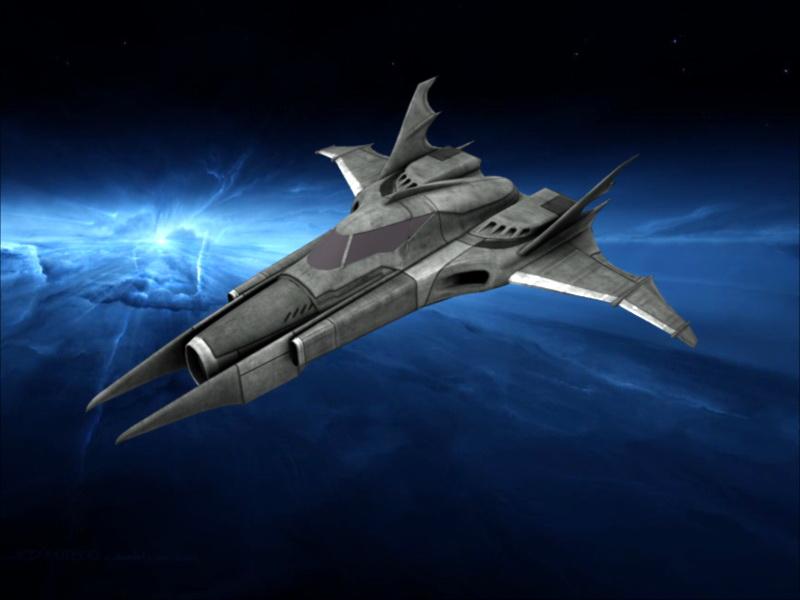 Batwing Sci-Fi Ship 3d rendering