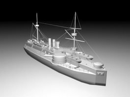 Old Warship 3d model preview