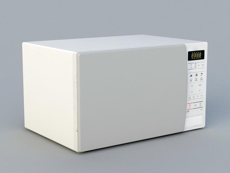 White Microwave 3d rendering