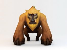 Cartoon Baboon Low Poly 3d preview