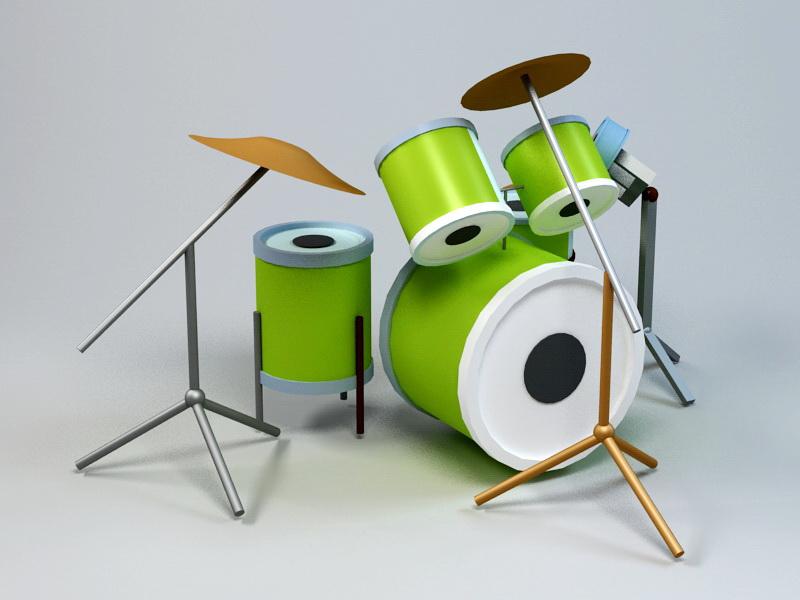Drum Set 3d rendering