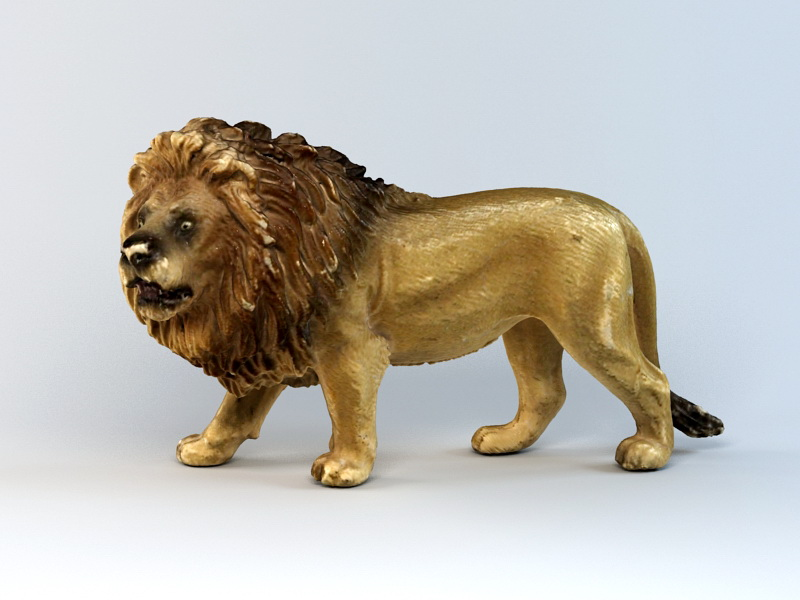 Lion Figurine 3d rendering